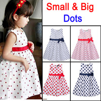 Princess Girls Dress Bow Waist Dot Print Sleeveless Brand Children toddler Girl Dresses Kids Summer 2014 Baby Girl Dress