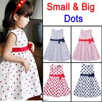 Princess Girls Dress Bow Waist Dot Print Sleeveless Brand Children toddler Girl Dresses Kids Summer 2014 Baby Girl Dress