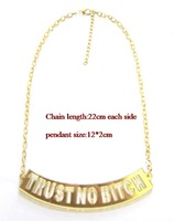 free shipping 2013 latest fashion arylic trust no bitch necklace