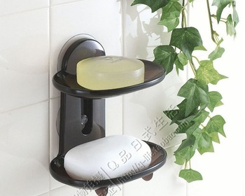 Free shipping Japanese style suction 2 tier soap basket soap holder bathroom accessory and kit novelty households