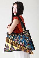 National trend embroidered bag women's handbag fashion handbag pleated bodhi fan