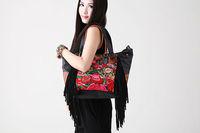 National trend embroidered bag handbag messenger bag tassel women's soft leather handbag