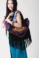 National trend embroidered bag handmade floccular handbag canvas bag casual bag
