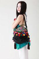National trend embroidered bag handmade floccular portable women's handbag messenger bag