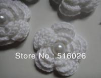 wholesale 50pcs/ lot Hand cotton crochet flower applique pearl colors mixed shipping free