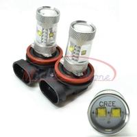 H8 30W Xenon White LED SMD XBD Driving CREE XB-D Fog Light Bulbs Lamp Headlight Daytime Running Light Free Shipping 2pcs/lot