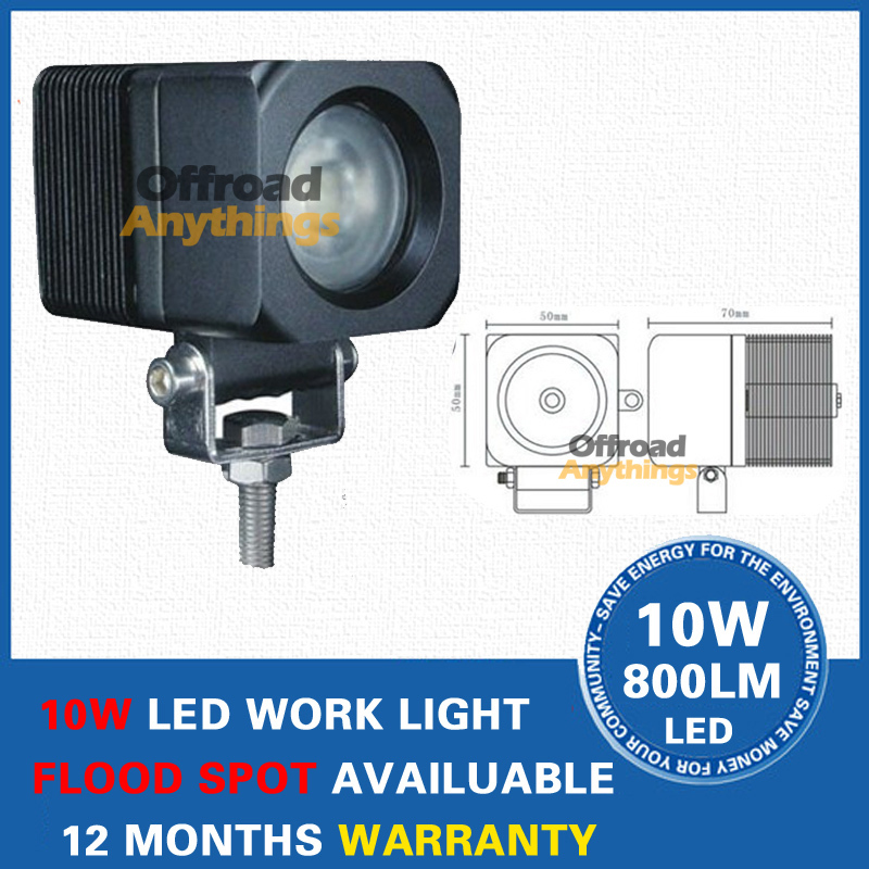 Free shipping 2pcs 10W LED Work Working Light Lamp Bulb OffRoad 12V 24V Car Truck ATV Spot Flood Lights(China (Mainland))