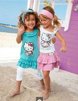 Retail! High-quality Summer Hello Kitty Baby Girl Suits Kids Sets headband+Dress+Pants Children Clothing 3pcs Set