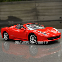 DIECAST METAL 1/32 MODEL CAR TOYS SOUND & LIGHT PULL BACK 458 SPIDER REPLICA
