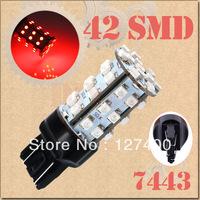 2pcs 7443 W21/5W T20 7440 W21W T20 42 SMD Red Stop Tail Brake Signal 42 LED Car Light Bulb Lamp