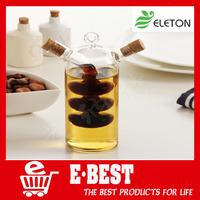 Kitchen supplies eco-friendly glass olive oil bottle kitchen cruet oil and vinegar bottle double oiler bottle stopper glass jar