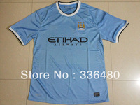 New arrival 13/14 best thai quality Manchester City home blue fans version soccer football jersey, size:S/M/L/XL