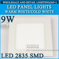 Wholesale 30pcs High brightness LED Panel Lights ceiling lighting Square 9W 2835SMD Cold white/warm white AC85-265V