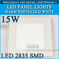 Wholesale 20pcs High brightness LED Panel Lights ceiling lighting Square 15W 2835SMD Cold white/warm white AC85-265V