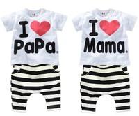 Retail 2014 Children Clothing Summer Set boys girls I Love Papa and Mama short sleeve t-shirt+pants suit kids Sleepwear set