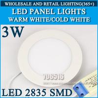 Wholesale 80PCS High brightness LED Panel Lights ceiling lighting 3W 2835SMD Cold white/warm white AC85-265v