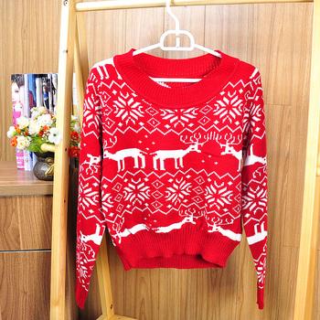 2013 Christmas sweater for Women,Winter Womens knit sweater,deer snow pattern short design,Long sleeve Novelty fashion tops