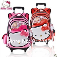 New Arrvia ! High quality Hello Kitty School student Girls Children Travel wheeled Trolley Luggage Rolling backpack bag KT5122