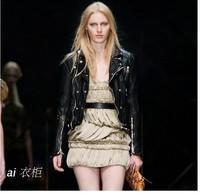 Watch ! Woman's autumn black Button Sheep skin jacket Locomotive Genuine leather coat Lapel slim Celebrity clothes S M L XL 2XL
