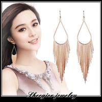 Brand gold silver black earrings for women girls long drop earrings alloy ear jewelry exaggerated tassel metal Earrings