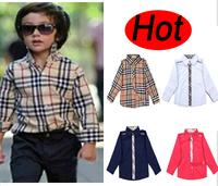 Children Boys Brand Blouse Long-sleeve Spring Autumn Kids Plaid Blouse Shirt  Girls Tops/Shirts