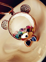 Free shipping Crystal Bear Long Sweater Pendants Necklaces fashion Jewelry Gift For Women