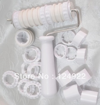 Wholesale 5Set/Lot Fondant Cake Cookies Flour Sugar Ribbon Cutter Roller Embosser Decorating Tools Free Shipping