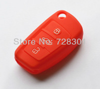 Red Silicone Key Case Cover Holder Protecting Bag For Audi Flip Key A3 A4 A6 A4 Quattro A6 Quattro Q7 S6 TT Quattro