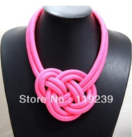 KN75 New 2013 Fashion Items Handmade Knitted Cotton Rope Neon Color Choker Chinese Knot Cross Necklace Women Statement Jewelry