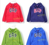 Autumn winter children's wear children's long sleeve hoodies and velvet boy zipper unlined upper garment