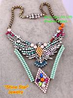 Fashion Brand Vintage Eagle Inlay Full Crystal Resin Flower pendant Statement Bib Collar Choker Necklace Women Jewelry Item,A51