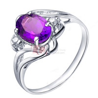 LQ Fine Jewelry Natural Amethyst Ring Statement Wedding Sterling 925 Silver Engagment Rings For Women White Gold Plated  On Sale