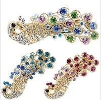fashion hair jewelry peacock big hairpin vintage elegant hair accessory rhinestone hairpin clip multicolour