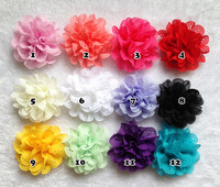 Free Shipping Baby Kids 3inch Flowers Eyelet chiffon hole lace flower flat back no clips headband flower DIY Photography props