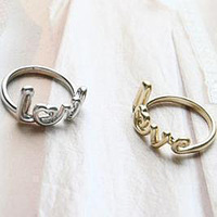 Recommend New Fashion jewelry gold plated love finger ring for women whoelsale Min order is $10(can mix different goods)