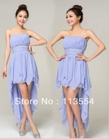 2013 summer fashion sleeveless irregular strapless a-line knee-length chiffon Bridesmaid Dresses free shipping