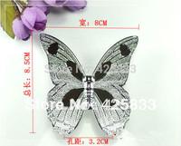 8pcs 32mm Silver Butterfly Zinc Chroming Brass Plating Dresser Handles Cabinet Knobs Kitchen Pulls Cartoon Butterfly