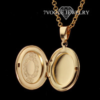 Floating Charms Locket Pendant Necklace For Women or Men Fashion 18K Real Gold Plated Pendants & Necklaces Jewelry Wholesale