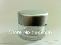 100pc/lot 40g clear round small plastic bottle jars containers with SLIVER lids for cosmetic packaging,cream jar