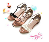 fashion rome style lovely bowtie ankle strap widges buckle patent leather summer Flat sandals for women  drop shipping 16174