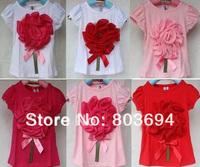 retail! fashion summer baby short sleeve t shirt  girl big flower design,kid's wear clothes  DG-6