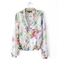 2013 New Brand Style Ladie'Silk Texture Floral Printed Zip Jacket,Fashion Women Casual Thin Short Coat jk02