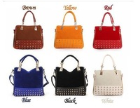 Free /dropping  wholesale   2013 Hotsale HX168 Rivets   PU leather shoulder bag and Promotion handbags and  tote bags