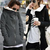 3pcs/lot hot sale Fashion Zip Up Tops Women's Hoodie Coat Jacket Outerwear Sweatshirt 3 sizes 3301