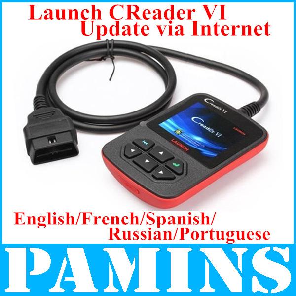 Scanner Launch Creader 6 / Creader Vi Original Obd2 X431 Spanish Russian Portuguese French Obdii Eobd Code Readers Scan Tools(China (Mainland))