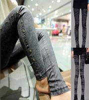 New 2014 Denim Leggings Elastic Skinny Jegging for Women Punk Studded Grey / Black Jeggings online