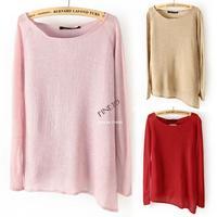 2014 New Fashion Womens' vantage Wool Pullover irregular hem thin knitted sweater long sleeve Elegant knitwear Novelty 1635