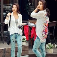 New 2013 Fashion Western Retro flower print Casual Loose Long Sleeve Chiffon Blouse Shirt Top Women's b11 16450
