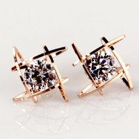925 sterling silver earrings 18K gold plated& AAA Czech rhinestone earrings,Fashion crystal jewelry for women,Free shipping