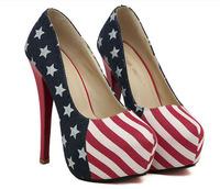Women size 11 heels 5 inch Red bottom high heels 15cm US American flag platform women pumps spring 2014 shoes woman